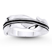 Angel's / Eagle's Feather Charm Stackable Ring in Oxidized .925 Sterling Silver - ST-FR095-SLO