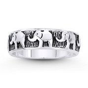 Elephant Herd Animal Charm Right-Hand Eternity Band in Oxidized .925 Sterling Silver - ST-FR096-SLO