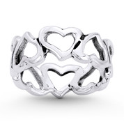 Multi-Heart Charm Stackable 7mm Eternity Band in Oxidized .925 Sterling Silver - ST-FR098-SLO
