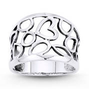 Heart Charm & Freeform Cutout Right Hand Wide Band in Oxidized .925 Sterling Silver - ST-FR100-SLO