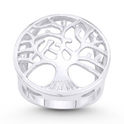 Tree-of-Life / Knowledge Etz Chaim Large Charm Ring in .925 Sterling Silver - ST-FR101-SLP