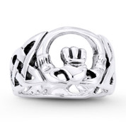 Irish Claddagh & Celtic Knot Love & Friendship Promise Ring in Oxidized .925 Sterling Silver - ST-FR103-SLO