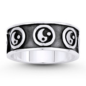 Chinese Yin-Yang Taoist Charm 8mm Men's Eternity Band in Oxidized .925 Sterling Silver - ST-FR104-SLO