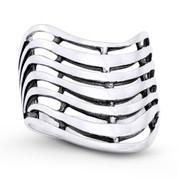 4mm to 19mm Multi Row Wide-Design V-Ring in Oxidized .925 Sterling Silver - ST-FR105-SLO