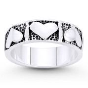 Multi-Heart Charm Stackable 6mm Band in Oxidized .925 Sterling Silver - ST-FR107-SLO