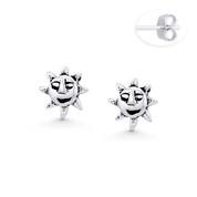 Aztec / Mayan Sun God Charm 7mm Stud Earrings in Oxidized .925 Sterling Silver - ST-SE118-SL