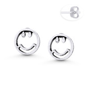 Smiley Face Emoji Charm 8mm Stud Earrings in Oxidized .925 Sterling Silver - ST-SE119-SL