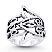 Hamsa Hand Evil Eye Luck Charm Wide Wrap Ring in Oxidized .925 Sterling Silver - EYESRG-003-SLO