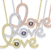 """Love"" & Evil Eye Charm Pendant & Chain Necklace w/ CZ Crystals in .925 Sterling Silver - EYESN44"