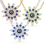 Evil Eye Glass Bead & CZ Crystal Mayan Sun Charm & Chain Necklace in .925 Sterling Silver - EYESN33
