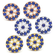 7mm Evil Eye Charm CZ Crystal Stud Earrings in .925 Sterling Silver - EYESER-017-SL