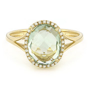 2.83ct Checkerboard Cut Green Amethyst & Round Diamond Oval Halo Right-Hand Ring in 14k Yellow Gold