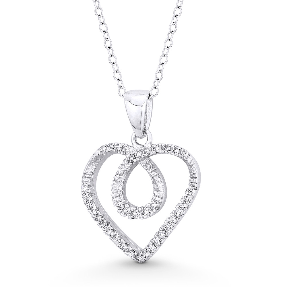 925 Sterling Silver Rhodium-plated CZ Double Heart Chain Slide Charm Pendant