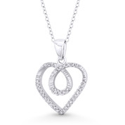 Looped Heart Charm CZ Crystal Pave Pendant in .925 Sterling Silver w/ Rhodium - ST-FP143-DiaCZ-SLW