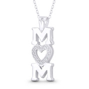 """Mom"" Script & CZ Crystal Pave Heart Charm Pendant in .925 Sterling Silver - ST-FP146-DiaCZ-SLP"