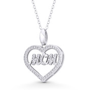 "Heart Charm CZ Crystal Pave & Cursive ""Mom"" Script Pendant in .925 Sterling Silver w/ Rhodium - ST-FP148-DiaCZ-SLW"