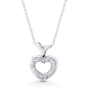 Double-Heart CZ Crystal Pave Pendant in .925 Sterling Silver w/ Rhodium - ST-FP150-DiaCZ-SLW