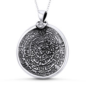 Ancient Hieroglyph Round Charm 41x32mm Medallion Pendant in Oxidized .925 Sterling Silver - ST-FP151-SLO