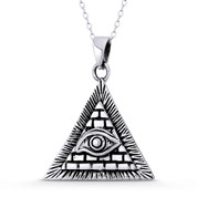 All-Seeing-Eye of God & Providence Masonic Charm Pendant in .925 Sterling Silver - ST-FP152-SLO