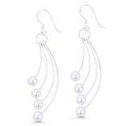 Dangling Multi-Ball & Wire Hook Earrings in .925 Sterling Silver - ST-DE043-SL