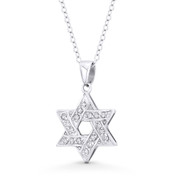 Star of David / Jewish Magen Charm CZ Crystal Pendant & Chain Necklace in .925 Sterling Silver - ST-JD015-DiaCZ-SLW