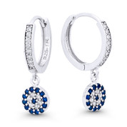 Evil Eye CZ Crystal Dangling Luck Charm & 14mm Hoop Earrings in .925 Sterling Silver - EYESER-038-SapBDiaCZ-SL