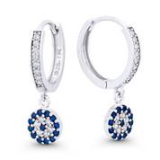 Evil Eye CZ Crystal Dangling Luck Charm & 14mm Hoop Earrings in .925 Sterling Silver - EYESER-038-SapBDiaCZ-SL