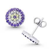 Evil Eye Charm Purple, Clear, & Yellow CZ Crystal 9mm Round Stud Earrings in .925 Sterling Silver - EYESER-039-AmeDiaCZ-SL