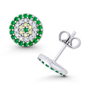 Evil Eye Charm Green, Clear, & Yellow CZ Crystal 9mm Round Stud Earrings in .925 Sterling Silver - EYESER-039-EmeDiaCZ-SL