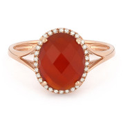 2.57ct Checkerboard Cut Red Agate & Round Diamond Oval Halo Right-Hand Ring in 14k Rose Gold