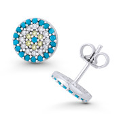 Evil Eye Charm Turquoise Blue, Clear, & Yellow CZ Crystal 9mm Round Stud Earrings in .925 Sterling Silver - EYESER-039-TqBDiaCZ-SL