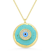 CZ Crystal Evil Eye Charm on Faux Turquoise Circle Pendant & Chain in .925 Sterling Silver - EYESN65