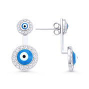 Evil Eye Enamel Bead & CZ Crystal Stud Earrings w/ Drop Attachments in .925 Sterling Silver - EYESER-023