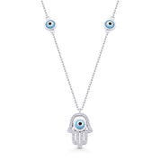 Hamsa Hand Evil Eye Bead Charm w/ CZ Pendant & Chain Necklace in .925 Sterling Silver - EYESN84