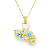 Evil Eye & Hamsa Hand CZ Crystal & Bead Charm Pendant in .925 Sterling Silver w/ 14k Yellow Gold - EYESP55-Blue_1Y