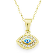 Evil Eye CZ Crystal & Bead Charm Pendant in .925 Sterling Silver w/ 14k Yellow Gold - EYESP58-Blue1Y