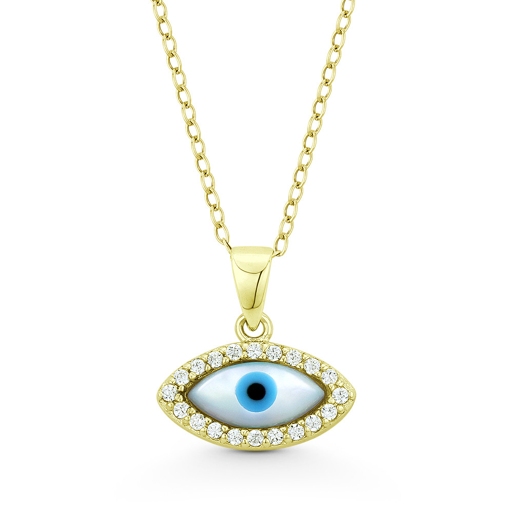 Evil Eye Pendant Gold Necklace Lucky Jewelry with Charm Crystal
