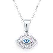 Evil Eye Enamel Bead & CZ Crystal Charm Pendant & Chain Necklace in .925 Sterling Silver - EYESP58