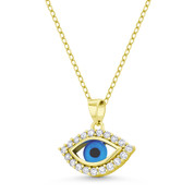Evil Eye Luck Charm Glass Bead & CZ Crystal Pendant & Chain Necklace in .925 Sterling Silver w/ 14k Yellow Gold - EYESP111-SLY