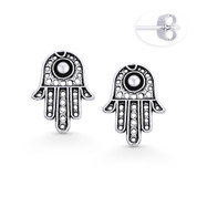 Hamsa Hand Evil Eye Luck Charm Stud Earrings in Oxidized .925 Sterling Silver - EYESER-026-SL