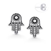 Hamsa Hand Evil Eye Luck Charm Stud Earrings in Oxidized .925 Sterling Silver - EYESER-026-SL