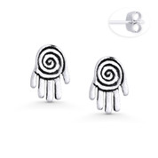 Hamsa Hand Evil Eye Luck Charm Stud Earrings in Oxidized .925 Sterling Silver - EYESER-028-SL