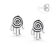 Hamsa Hand Evil Eye Luck Charm Stud Earrings in Oxidized .925 Sterling Silver - EYESER-028-SL