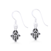 Hamsa Hand Evil Eye Luck Charm Dangling Hook Earrings in Oxidized .925 Sterling Silver - EYESER-029-SL
