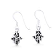 Hamsa Hand Evil Eye Luck Charm Dangling Hook Earrings in Oxidized .925 Sterling Silver - EYESER-029-SL