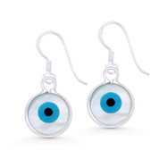 Mother-of-Pearl Evil Eye Luck Charm Dangling Hook Earrings in .925 Sterling Silver - EYESER-030-19X11MM-SL
