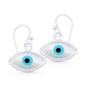 Mother-of-Pearl Evil Eye Luck Charm Dangling Hook Earrings in .925 Sterling Silver - EYESER-031-17X16MM-SL