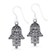 Hamsa Hand Evil Eye Luck Charm Dangling Hook Earrings in Oxidized .925 Sterling Silver - EYESER-032-SL