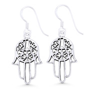 Hamsa Hand Evil Eye Luck Charm Dangling Hook Earrings in Oxidized .925 Sterling Silver - EYESER-033-SL
