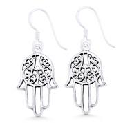 Hamsa Hand Evil Eye Luck Charm Dangling Hook Earrings in Oxidized .925 Sterling Silver - EYESER-033-SL